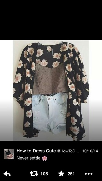 top floral kimono shorts high waisted shorts tank top