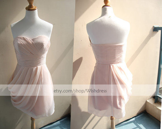 Handmade Sweetheart Pick up Skirt Short Bridesmaid by Wishdress