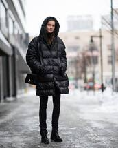 coat,tumblr,black coat,quilted,bag,black bag,nyfw 2017,fashion week 2017,fashion week,streetstyle,denim,jeans,black dress,skinny jeans,boots,black boots,flat boots,winter outfits,winter look