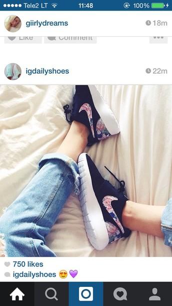 shoes black nike floral shoes
