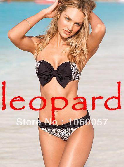 2014 victoria leopard bikini set sexy girl vs bow swimwear free shipping women padded swimwuit lady trikini beach wear hoho-in Bikinis Set from Apparel & Accessories on Aliexpress.com