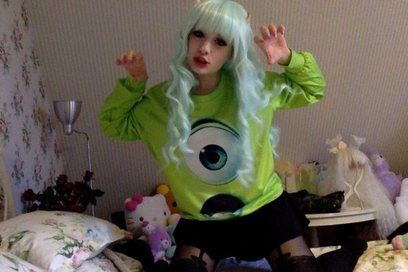 sweater green sweater monsters inc monsters university monsters one eyed monster creepy kawaii pastel goth underwear