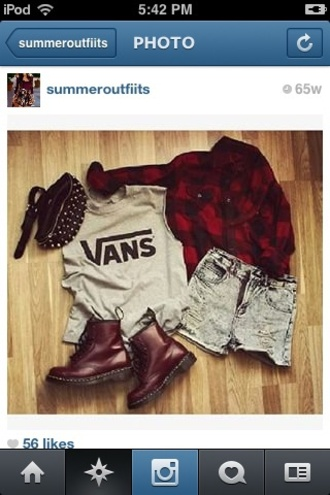 t-shirt vans t-shirt denim shorts indie oversized flannel