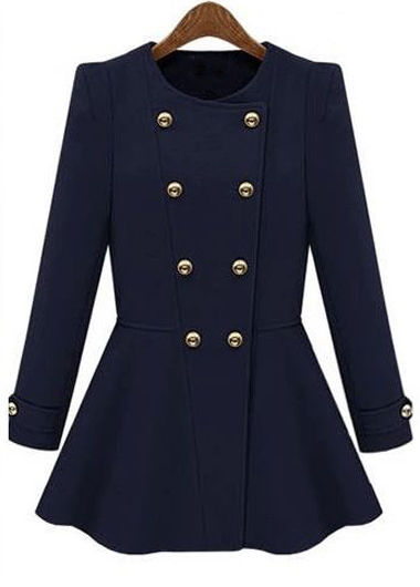 Vogue long sleeve round neck navy coat with button