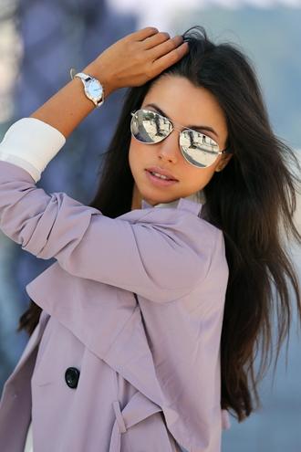 sunglasses mirrored sunglasses aviator sunglasses coat pink coat trench coat watch silver watch viva luxury blogger