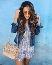 jacket,bag,chain bag,denim,tumblr,mini dress,printed dress,nude bag,denim jacket,blue jacket,sunglasses,aviator sunglasses,long hair,hair,hairstyles