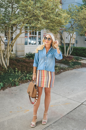 cortinsession,blogger,jewels,dress,shoes,bag,sunglasses,skirt,summer outfits,sandals,denim shirt