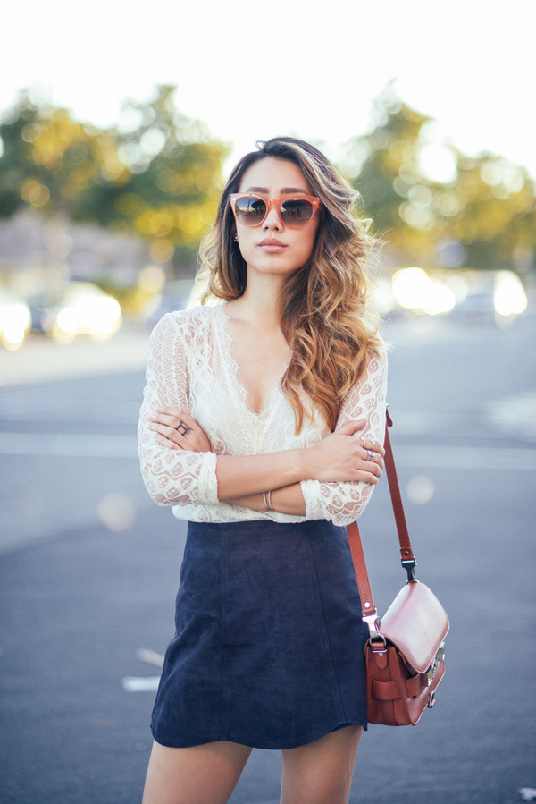 neon blush blogger top sunglasses jewels skirt blue suede skirt blue skirt mini skirt white top white lace top lace top bag brown bag proenza schouler