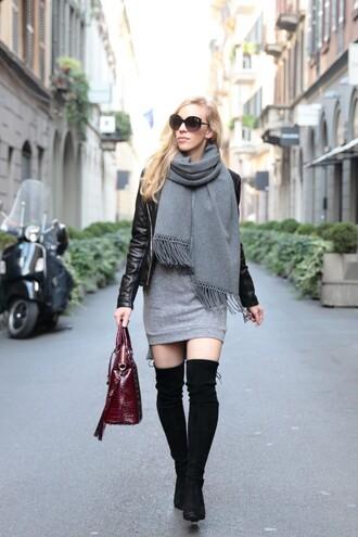 scarf grey scarf grey pencil skirt black over knee boots burgundy bag sunglasses blogger