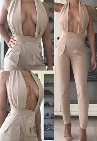 jumpsuit sammydress beige playsuit romper halter backless hollow cut-out top bottoms pants clothes sexy cute summer outfit beautiful fashion girly