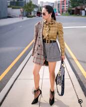 shoes,pumps,high heel pumps,suede pumps,shorts,checkered,belt,ruffle,coat,earrings,sunglasses,handbag
