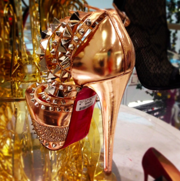 shoes gold studs stud heels metallic