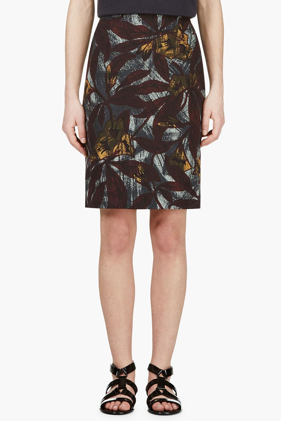 Marc jacobs plum and teal leaf printed pencil skirt