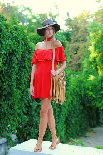 yuliasi blogger dress hat red dress off the shoulder dress black hat fringed bag flat sandals