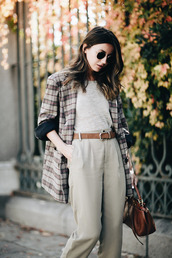 coat,tumblr,printed coat,tartan,plaid,top,nude top,pants,nude pants,belt,bag,brown bag,sunglasses,round sunglasses,blogger,lovely pepa,work outfits,office outfits,winter work outfit