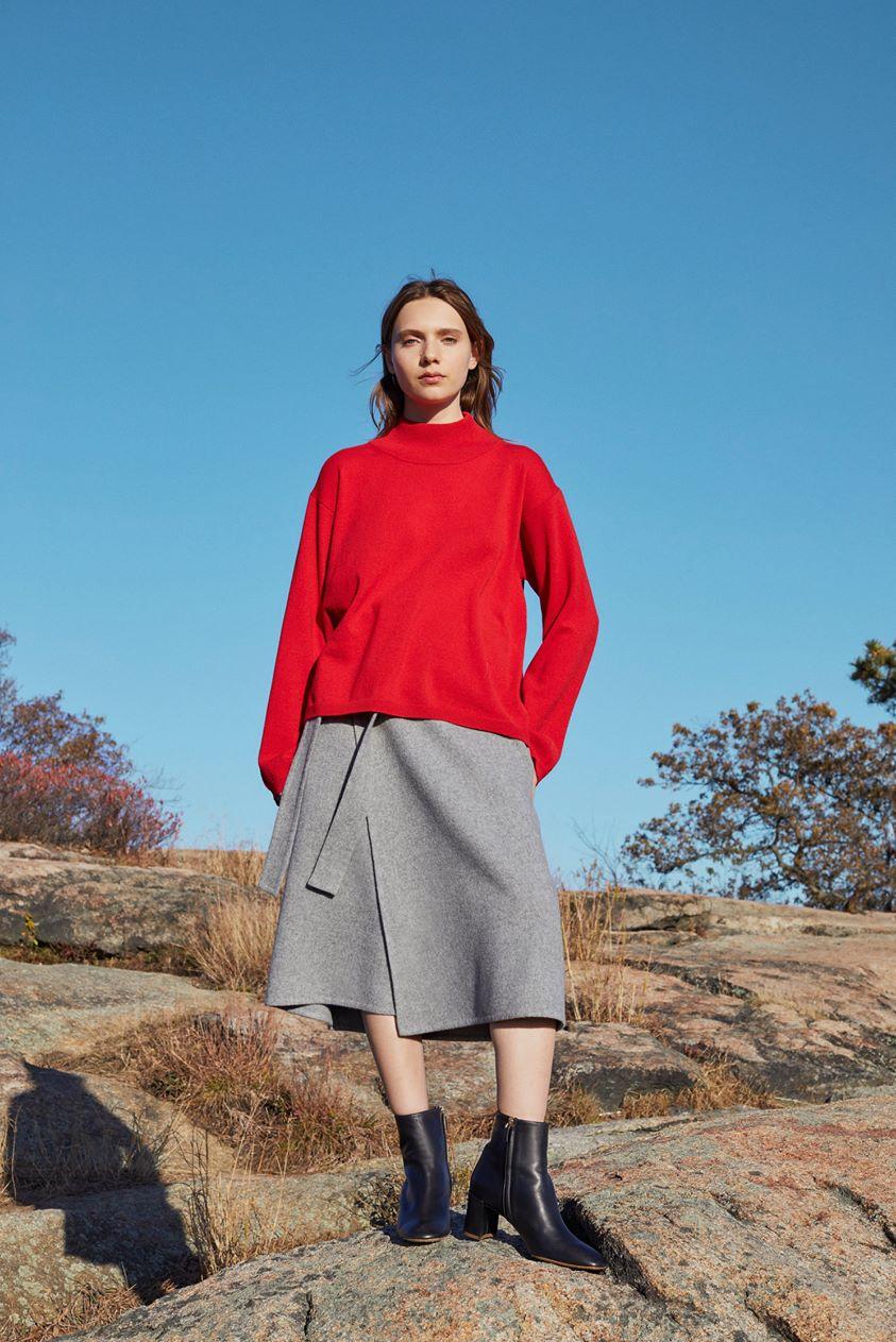 Wool Cashmere High Neck Sweater - Flamma