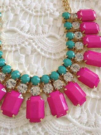 jewels pink turquoise statement necklace