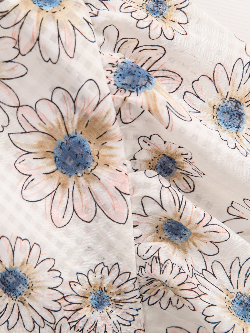 White Elastic Waist Sunflowers Print Shorts - Sheinside.com