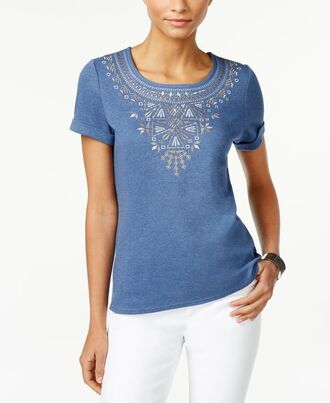 t-shirt embroidered t shirt blue t-shirt embroidered pants white pants