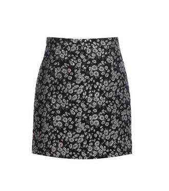 skirt metallic jacquard wool black