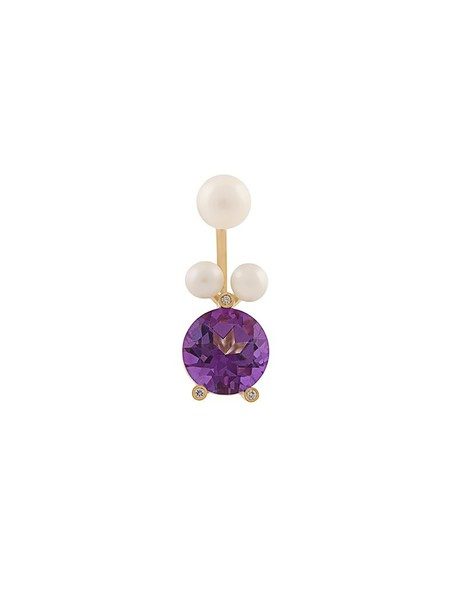 Delfina Delettrez diamond ring triangle women pearl magic ring gold yellow grey metallic jewels