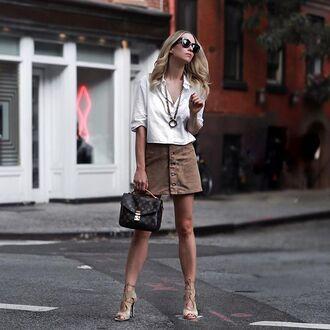 skirt tumblr shirt white shirt mini skirt beige skirt button up button up denim skirt button up skirt bag printed bag sandals sandal heels high heel sandals sunglasses