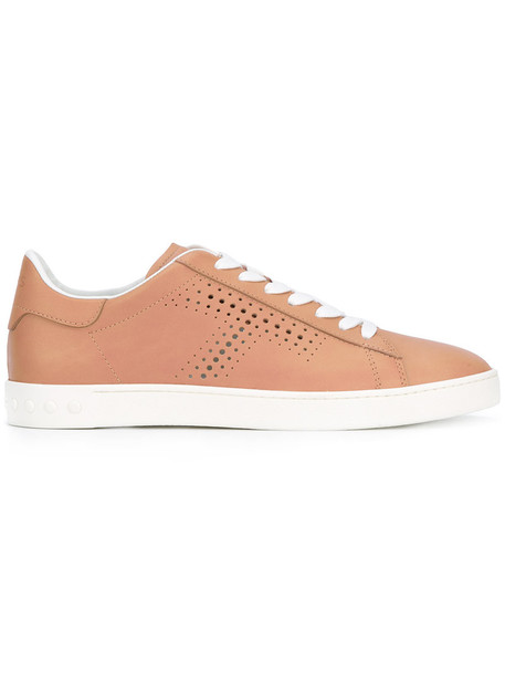 TOD'S women sneakers lace leather nude shoes