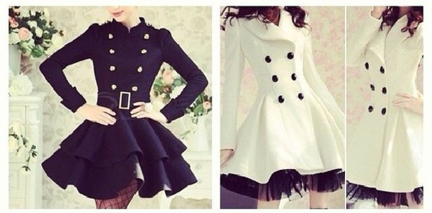 jacket trench coat black and white fall outwear winter outfits holidays girly