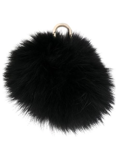 Yves Salomon bag charm fur fox women bag black