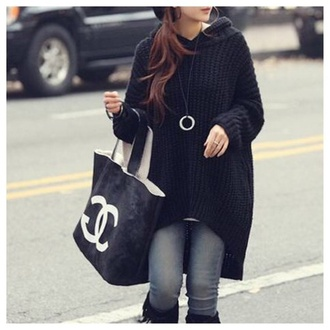 sweater clothes black fashion hoodie top kawaii fall outfits girly