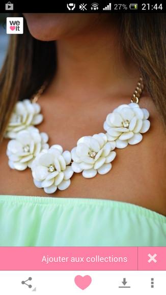 jewels collier blanc bijoux fleur floral