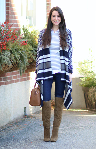 diary of a debutante blogger sweater shoes jeans bag jewels brown bag knee high boots boots winter outfits cardigan