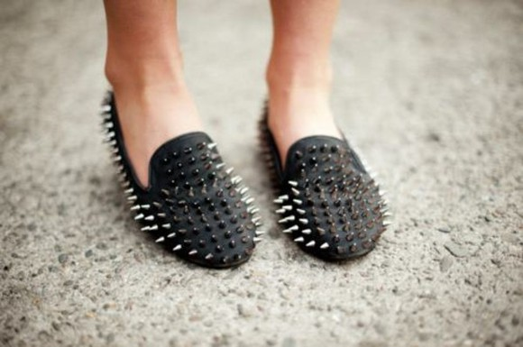shoes black spikes metal style cute studs