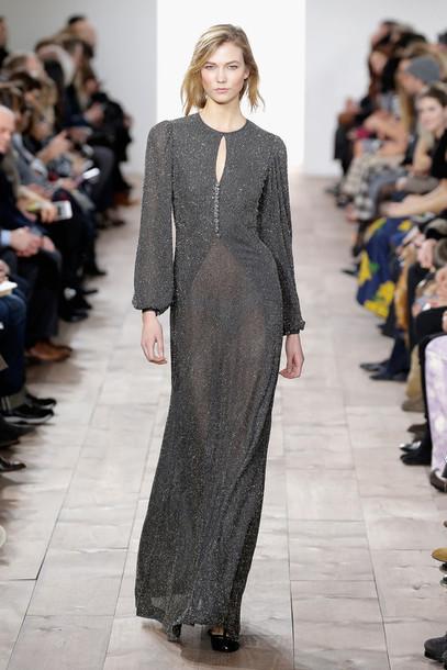 dress gown maxi dress karlie kloss fashion week 2015 fashion