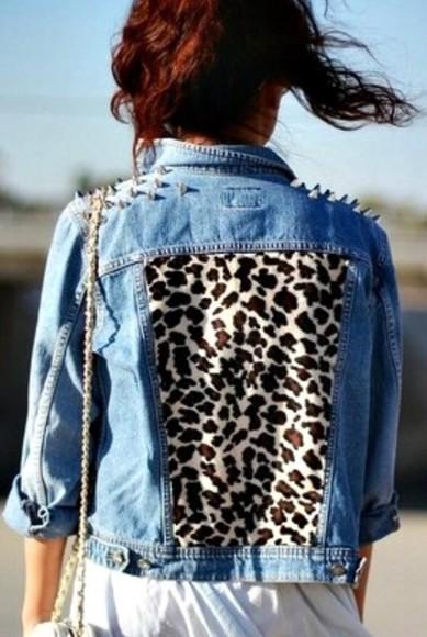 leopard print jacket jacket studs jean jackets