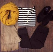 cardigan,clothes,boots,ring,pants,jacket,loop scarf,loopscarf,infinity scarf,stripe shirt,leather jeans,scarf,shirt,striped shirt,knit scarf yellow,yellow scarf,beige cardigan,jewels,jeans,shoes,t-shirt