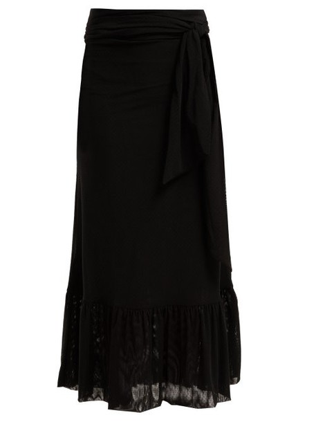 Ganni - Polka Dot Tiered Stretch Mesh Skirt - Womens - Black