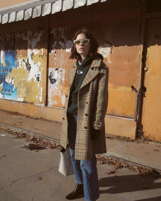 coat tumblr camel camel coat plaid plaid coat sunglasses cat eye denim jeans blue jeans double3xposure blogger hoodie