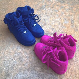 shoes high top sneakers nike air force 1 nike nike sneakers hot pink blue