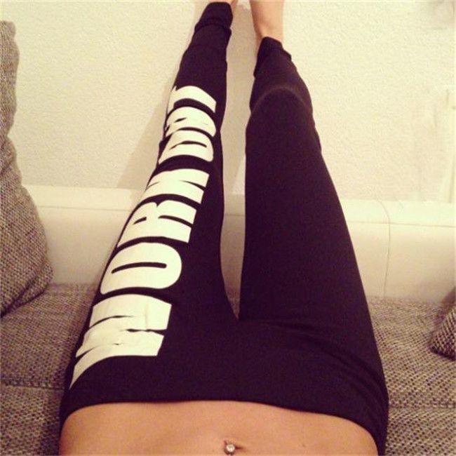 Fashion Women Sexy Letters/Gun Print Slim Leggings Stretch Pants Waist Tights B