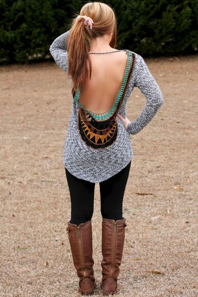 fall outfits sweater brown leather boots open back backless