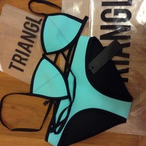 Sky blue triangle bikini ❤ tattoosocks ❤