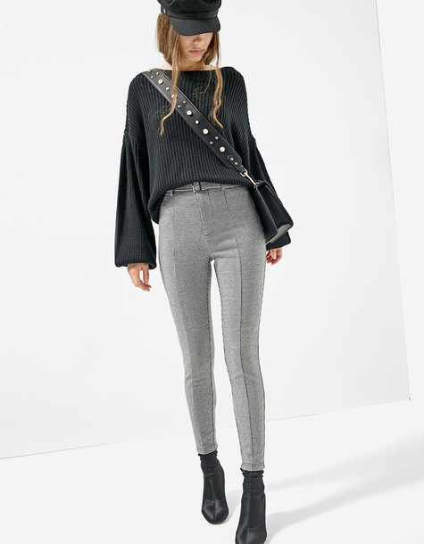 Stradivarius leggings jacquard black pants