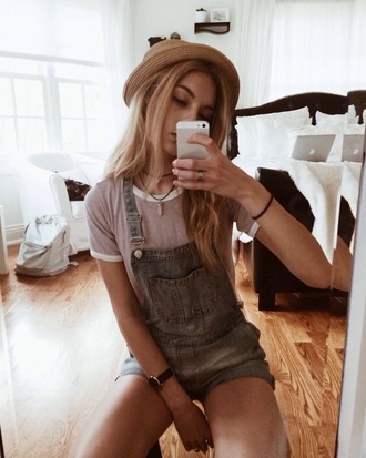 hat straw hat denim overalls necklace aztec style necklace fashion summer outfits