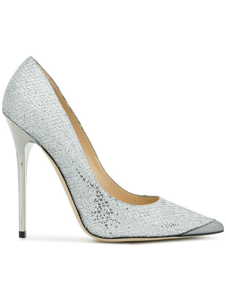 women pumps leather grey metallic shoes