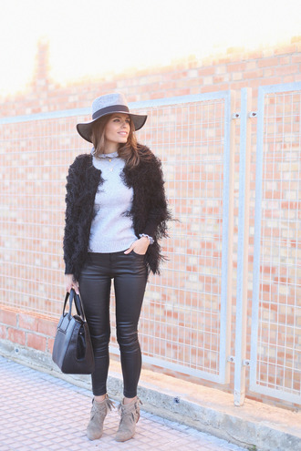 seams for a desire blogger hat fuzzy jacket leather leggings