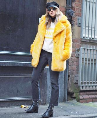 jacket yellow jacket tumblr yellow fur jacket faux fur jacket jeans denim black jeans boots black boots fisherman cap