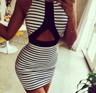 dress striped dress black and white dress cutout dress