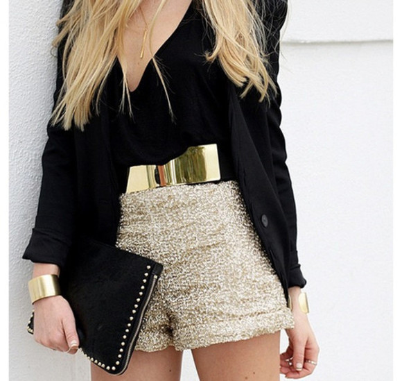 shorts bag jacket black jacket beige shorts gold belt clutch belt