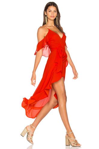 dress wrap dress red